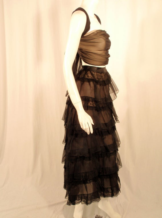 Oscar de la Renta Black Organza, Lace Ruffle Skirt & Wrap Top 2003 5
