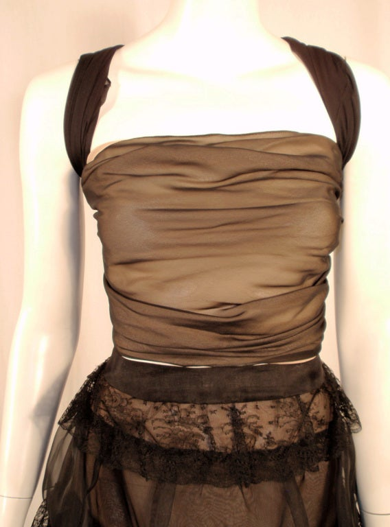 Oscar de la Renta Black Organza, Lace Ruffle Skirt & Wrap Top 2003 6
