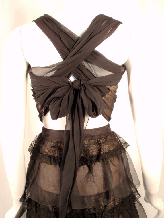 Oscar de la Renta Black Organza, Lace Ruffle Skirt & Wrap Top 2003 7