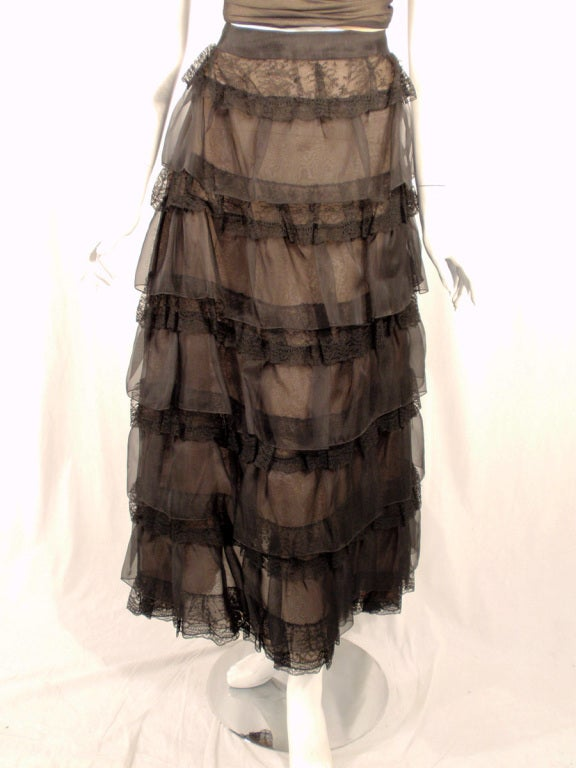 Oscar de la Renta Black Organza, Lace Ruffle Skirt & Wrap Top 2003 8