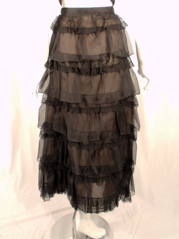 Oscar de la Renta Black Organza, Lace Ruffle Skirt & Wrap Top 2003 9