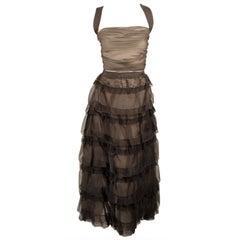Oscar de la Renta Black Organza, Lace Ruffle Skirt & Wrap Top 2003