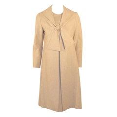 Bill Blass 2 pc Oatmeal Wool Sheath Dress with Tie Front Coat