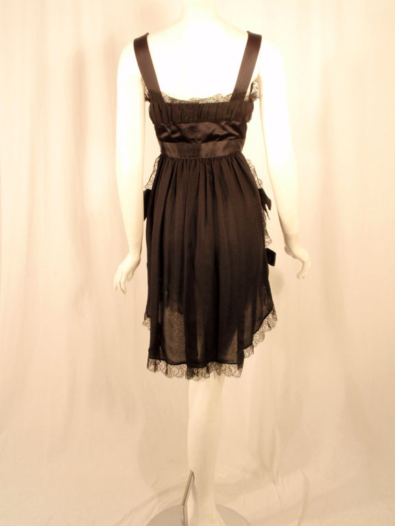 Chanel Black Chiffon Cocktail Mini Dress w/ Satin Bows & Ruffles 4