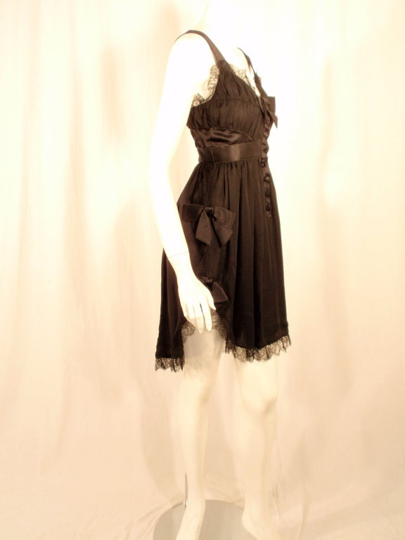 Chanel Black Chiffon Cocktail Mini Dress w/ Satin Bows & Ruffles 5