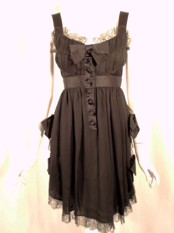 Chanel Black Chiffon Cocktail Mini Dress w/ Satin Bows & Ruffles 6