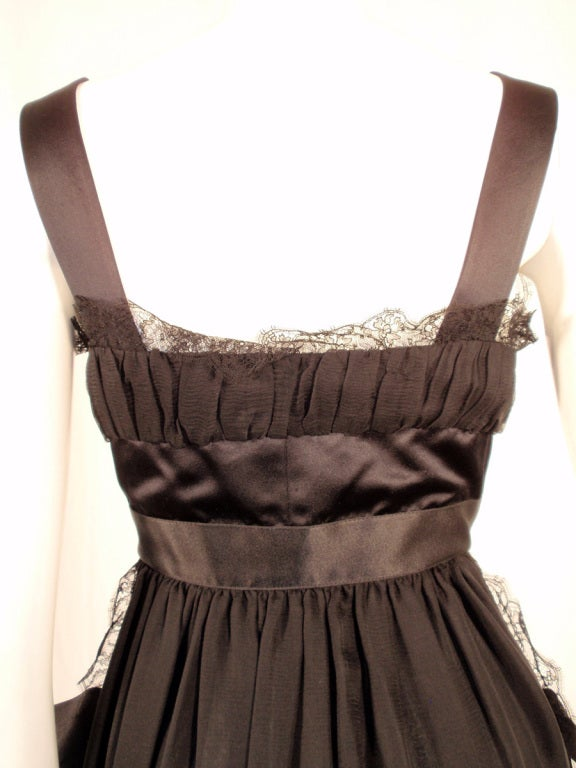 Chanel Black Chiffon Cocktail Mini Dress w/ Satin Bows & Ruffles 9