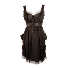Chanel Black Chiffon Cocktail Mini Dress w/ Satin Bows & Ruffles