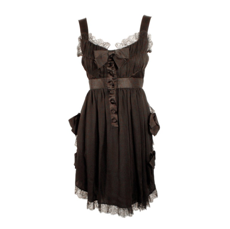 Chanel Black Chiffon Cocktail Mini Dress w/ Satin Bows & Ruffles 1