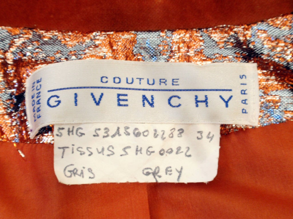 GIVENCHY Couture Copper with Silver Brocade Suit w/ Velvet Trim Size 4 2
