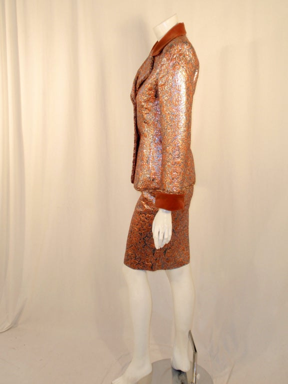 GIVENCHY Couture Copper with Silver Brocade Suit w/ Velvet Trim Size 4 3