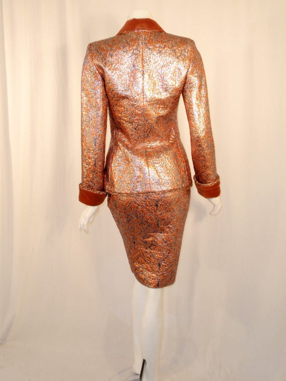 GIVENCHY Couture Copper with Silver Brocade Suit w/ Velvet Trim Size 4 4