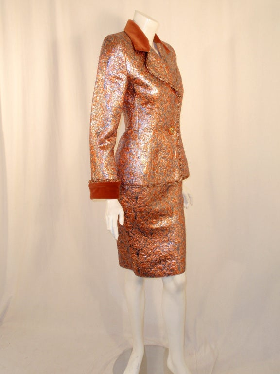 GIVENCHY Couture Copper with Silver Brocade Suit w/ Velvet Trim Size 4 5