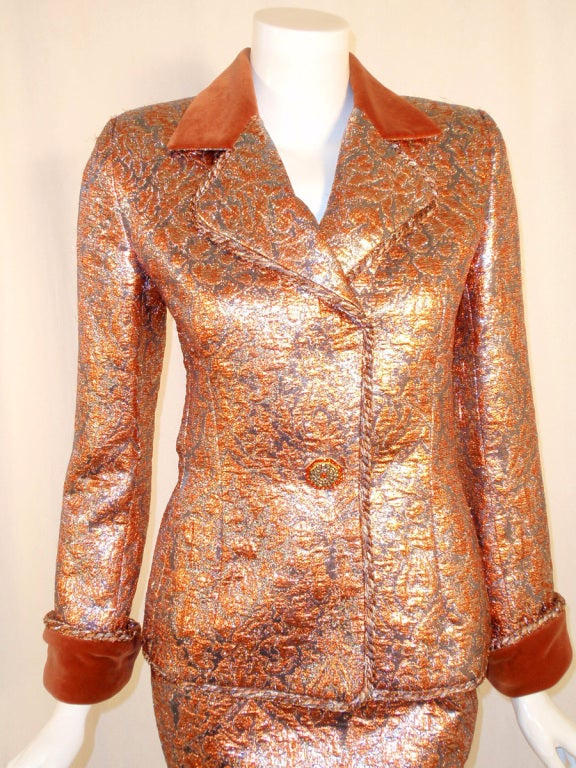 GIVENCHY Couture Copper with Silver Brocade Suit w/ Velvet Trim Size 4 6