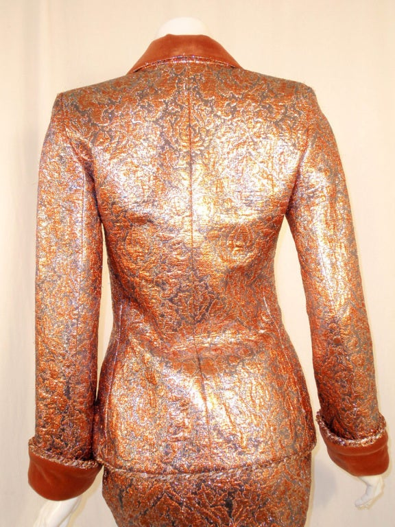 GIVENCHY Couture Copper with Silver Brocade Suit w/ Velvet Trim Size 4 7