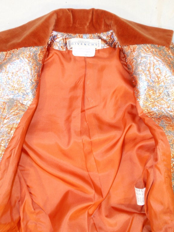 GIVENCHY Couture Copper with Silver Brocade Suit w/ Velvet Trim Size 4 8