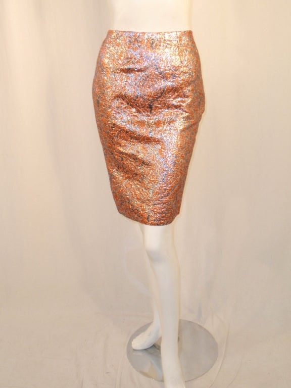 GIVENCHY Couture Copper with Silver Brocade Suit w/ Velvet Trim Size 4 9