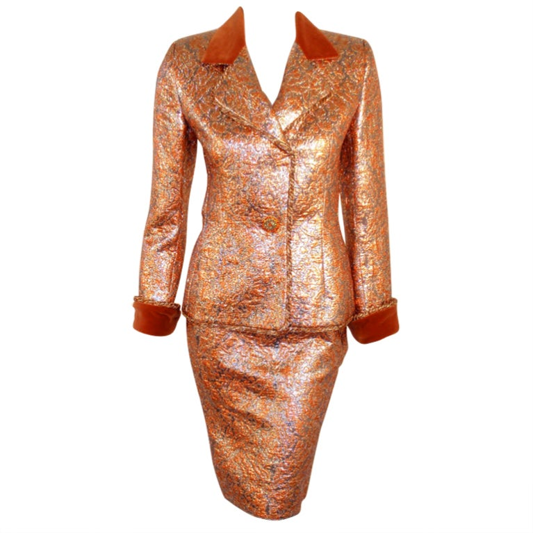 GIVENCHY Couture Copper with Silver Brocade Suit w/ Velvet Trim Size 4 1