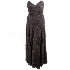 Eaves & Brown for Saks 5th Ave. Black Hand beaded Strapless Evening Gown