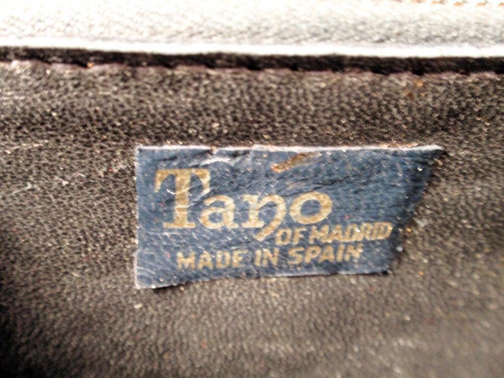 Tano Vintage Black Crocodile Handbag w/ 2 Handles, Gold Clasp 2