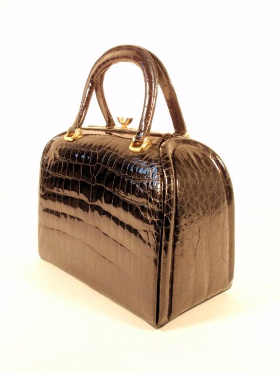 Tano Vintage Black Crocodile Handbag w/ 2 Handles, Gold Clasp 3