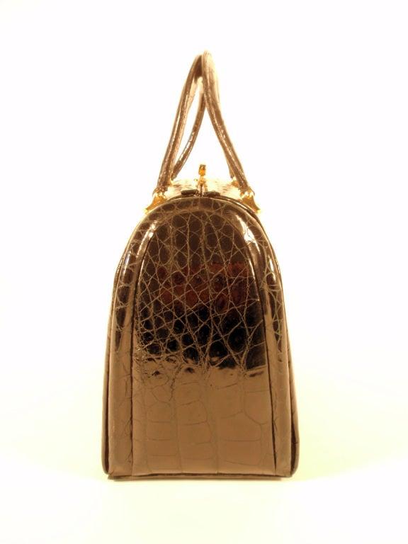 Tano Vintage Black Crocodile Handbag w/ 2 Handles, Gold Clasp 4