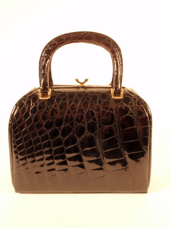 Tano Vintage Black Crocodile Handbag w/ 2 Handles, Gold Clasp 5