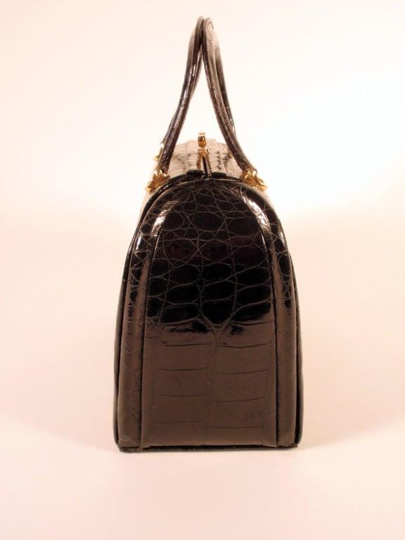 Tano Vintage Black Crocodile Handbag w/ 2 Handles, Gold Clasp 6