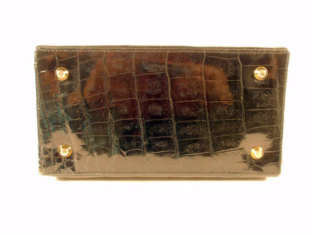 Tano Vintage Black Crocodile Handbag w/ 2 Handles, Gold Clasp 7