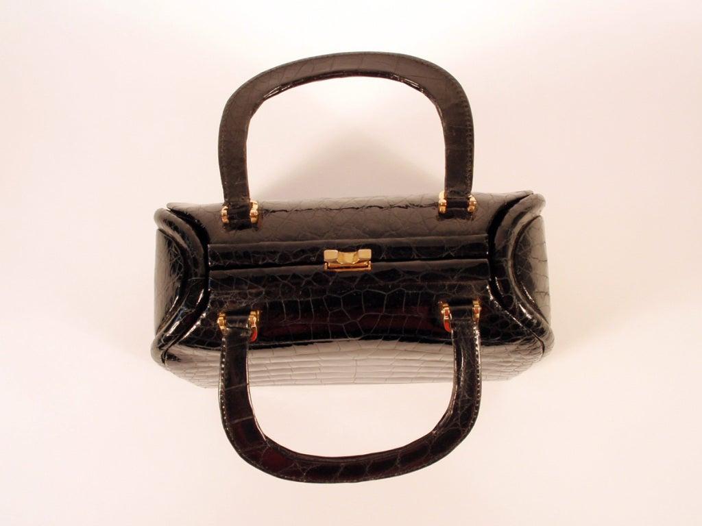 Tano Vintage Black Crocodile Handbag w/ 2 Handles, Gold Clasp 8