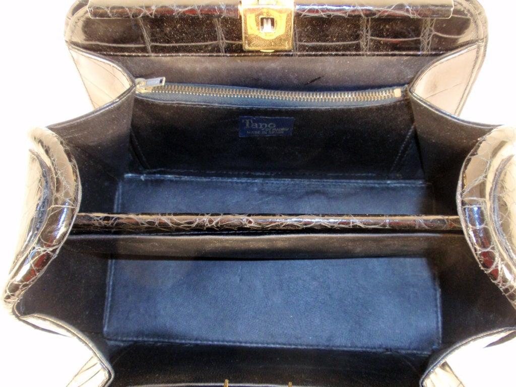 Tano Vintage Black Crocodile Handbag w/ 2 Handles, Gold Clasp 9