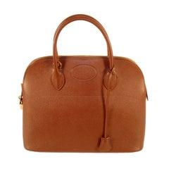 1997 Hermes Cafe Brown Leather Bolide 35cm Zip Top Handle Bag w. Lock & Keys
