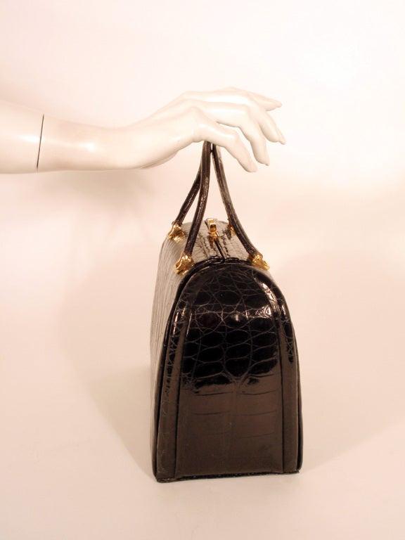 Tano Vintage Black Crocodile Handbag w/ 2 Handles, Gold Clasp 10