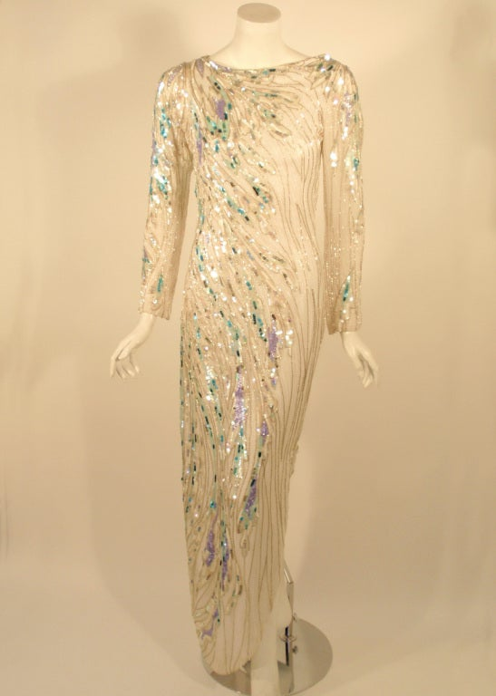 Beige Bob Mackie White Long Sleeve Gown, Beaded & Sequins For Sale