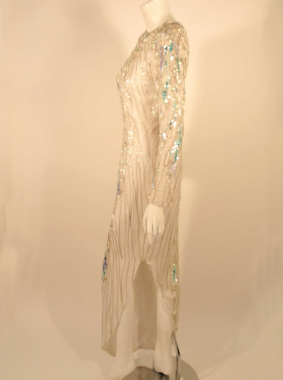 Bob Mackie White Long Sleeve Gown, Beaded & Sequins In Excellent Condition For Sale In Los Angeles, CA