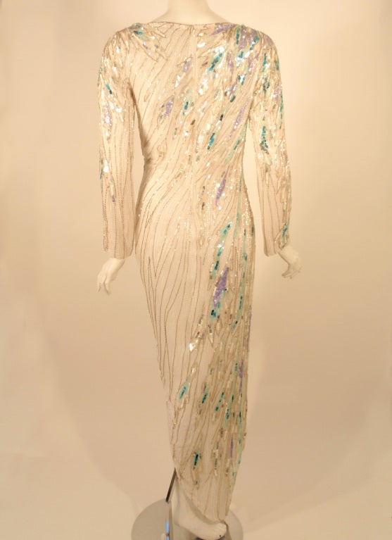 Women's Bob Mackie White Long Sleeve Gown, Beaded & Sequins For Sale