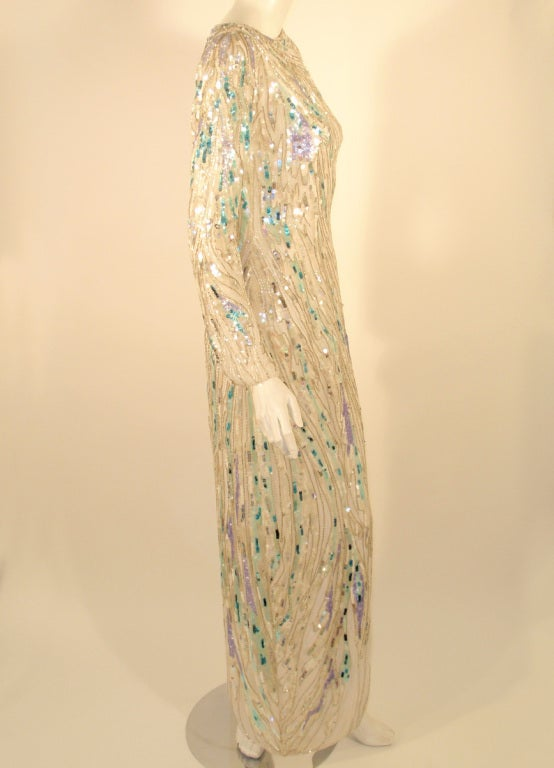 Bob Mackie White Long Sleeve Gown, Beaded & Sequins For Sale 1