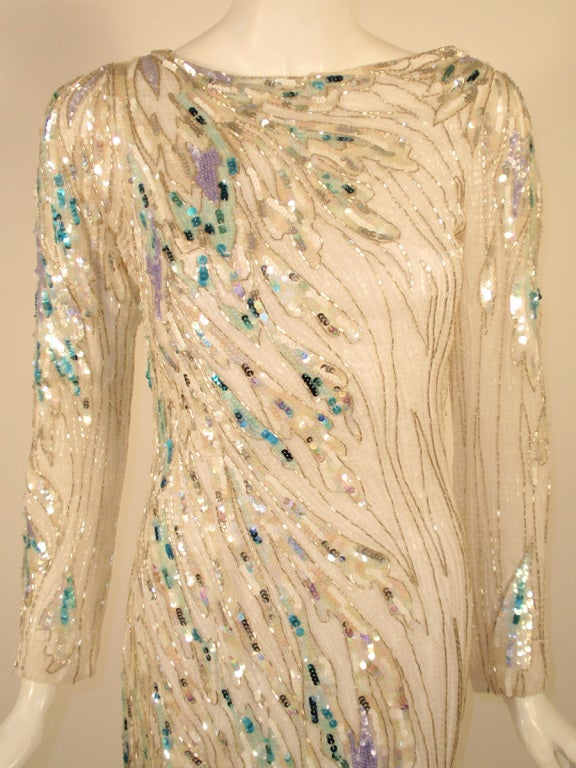 Bob Mackie White Long Sleeve Gown, Beaded & Sequins For Sale 2
