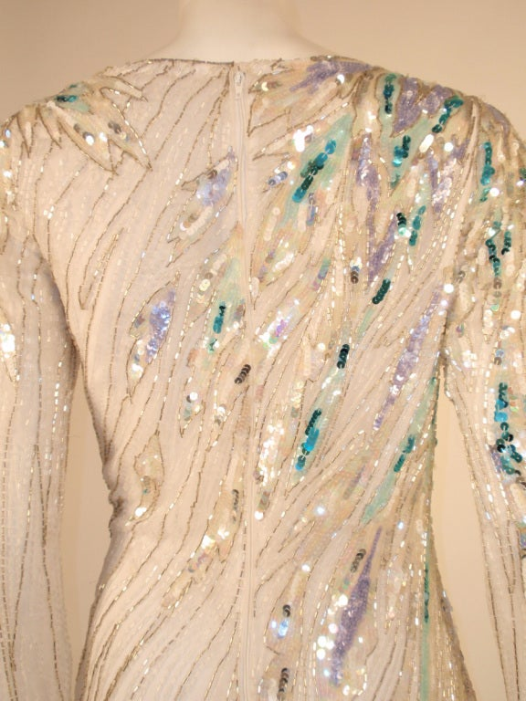 Bob Mackie White Long Sleeve Gown, Beaded & Sequins For Sale 3