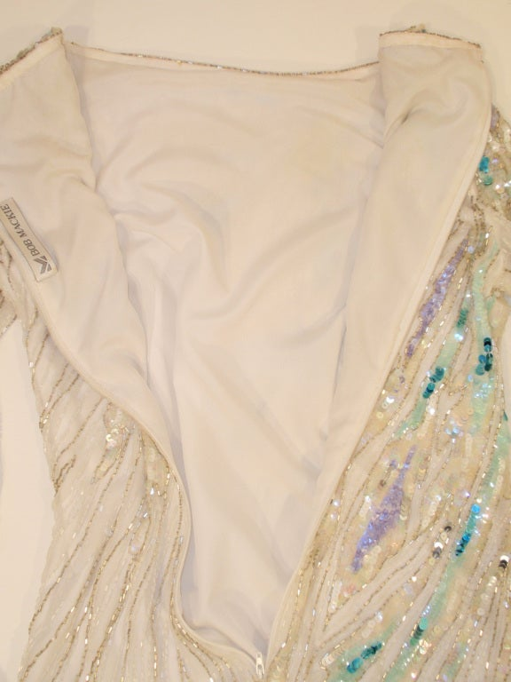 Bob Mackie White Long Sleeve Gown, Beaded & Sequins 9