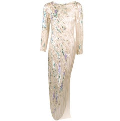 Bob Mackie White Long Sleeve Gown, Beaded & Sequins