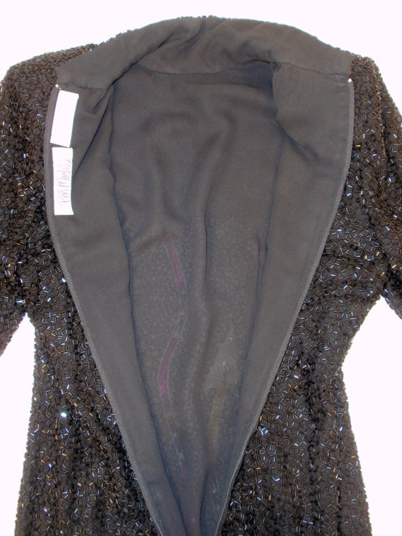Bob Mackie Black Sequin Gown with Arrow design High Low Feather trim Hem 8
