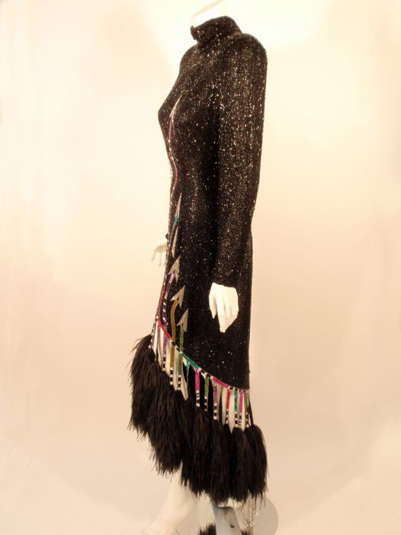 Bob Mackie Black Sequin Gown with Arrow design High Low Feather trim Hem 4