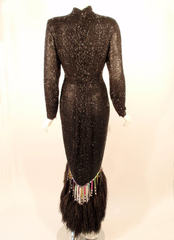 Bob Mackie Black Sequin Gown with Arrow design High Low Feather trim Hem 6