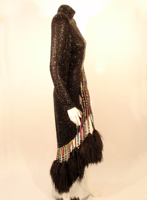 Bob Mackie Black Sequin Gown with Arrow design High Low Feather trim Hem 5