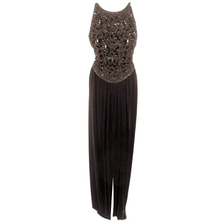 Oscar de la Renta Black Velvet beaded Gown, Halter Top Bodice 6