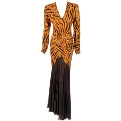 Bob Mackie Orange & Black Beaded Tiger Print with Black Chiffon Gown