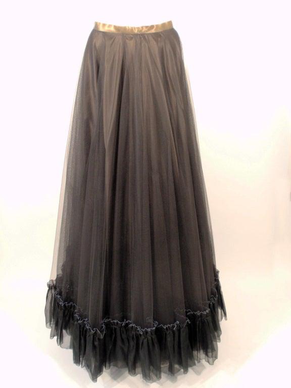 Zandra Rhodes 3 pc Black & Blue Print Gown, Underskirt, Sash 10