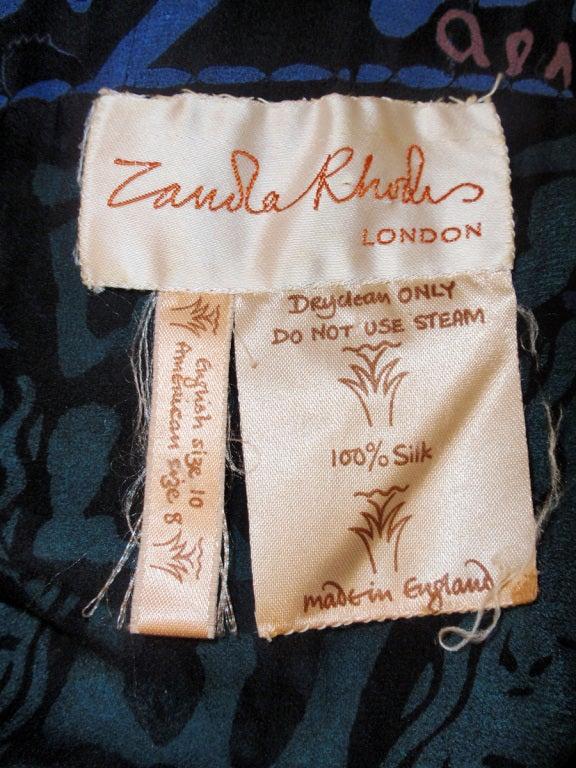 Zandra Rhodes 3 pc Black & Blue Print Gown, Underskirt, Sash 2