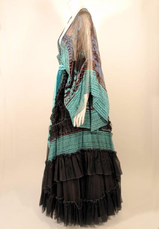 Zandra Rhodes 3 pc Black & Blue Print Gown, Underskirt, Sash 3